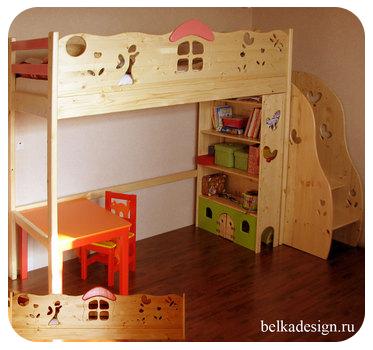 Дизайн детской с кроватью чердаком